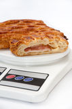 Puff pastry on the kitchen scale Royalty Free Stock Photography