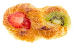 Puff pastry with kiwi and strawberry Royalty Free Stock Photos