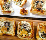 Puff pastry Mushroom tarts Royalty Free Stock Images