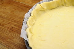 Puff pastry with nothing above in pie dish Stock Photo