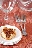 Puff Pastry with Pecans on Table Royalty Free Stock Photos