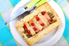 Puff pastry pie with asparagus and salmon Royalty Free Stock Photography