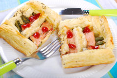 Puff pastry pie with asparagus and salmon Stock Image