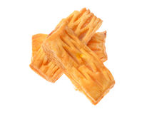A puff pastry pie with cheese isolated on white background Stock Images