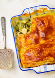 Puff pastry pie with chicken and vegetables Royalty Free Stock Images