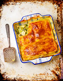 Puff pastry pie with chicken and vegetables Stock Photo