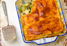 Puff pastry pie with chicken and vegetables Stock Image