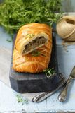 Puff pastry pie with meat stock images