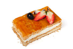 Puff pastry pie with strawberries stock images