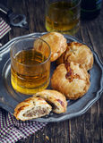 Puff pastry pies with mince meat. Toned image Stock Image