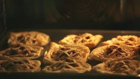 Puff Pastry Pies In oven baking tray stock footage