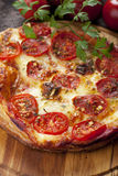 Puff pastry pizza. Margherita with cheese and tomato Stock Photos