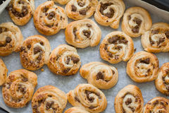 Puff pastry pizza rolls with minced beef Stock Photos