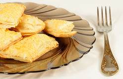 Puff pastry on the plate stock image