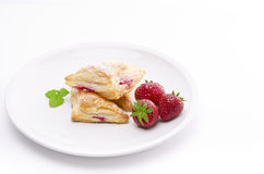 Puff pastry pockets with strawberry Royalty Free Stock Image
