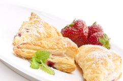 Puff pastry pockets with strawberry Stock Images