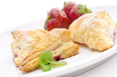 Puff pastry pockets with strawberry Royalty Free Stock Photo