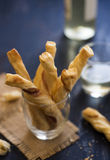 Puff pastry and Prosciutto Grissini Royalty Free Stock Photos