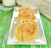 Puff pastry rolls with cheese Royalty Free Stock Photography