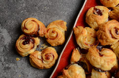 Puff pastry rolls with fruity marmalade Royalty Free Stock Photos
