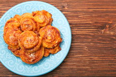 Puff pastry rolls with ham and cheese Stock Photos