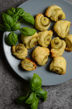Puff pastry rolls with italian pesto filling Stock Images