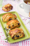 Puff pastry rolls with raisins and cream cheese Royalty Free Stock Photo