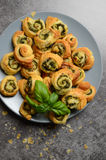 Puff pastry rolls with spinach and greek cheese filling Stock Images