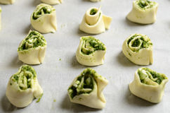 Puff pastry rolls with spinach and greek cheese filling Stock Image
