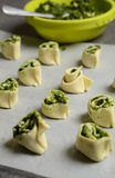 Puff pastry rolls with spinach and greek cheese filling Royalty Free Stock Photos