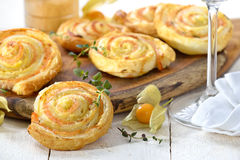 Puff pastry with salmon Stock Photography