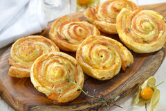 Puff pastry with salmon Stock Image