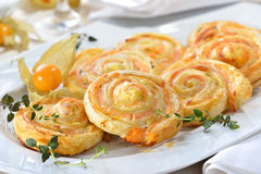 Puff pastry with salmon Royalty Free Stock Images