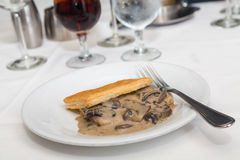 Puff Pastry and Sauteed Mushrooms. Fresh baked puff pastry with rich mushroom gravy inside royalty free stock photos
