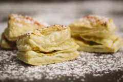 Puff pastry with seeds above Stock Photos