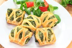 Puff pastry with spinach and cheese filling Royalty Free Stock Photography