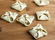 puff pastry with spinach Royalty Free Stock Images