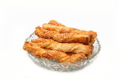 Puff pastry sticks  with sesame seeds Stock Images