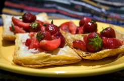 Puff pastry with strawberry Stock Photos