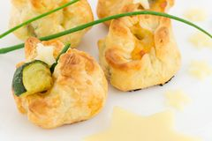 Puff pastry stuffed Stock Photos
