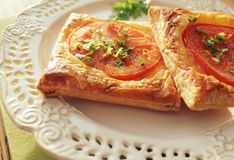 Puff pastry with tomatoes, cheese Royalty Free Stock Photo