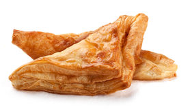 Puff pastry. Two fresh puff on the white background Stock Image