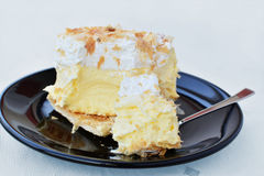 Puff pastry, vanilla custard and whipped cream Stock Images