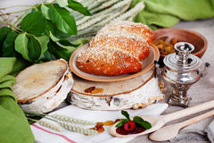 Puff with raisins and powdered sugar Russian still Stock Photography