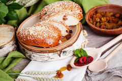 Puff with raisins and powdered sugar Russian still Royalty Free Stock Image