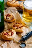 Puff rolls with cheese and salami. Stock Photography