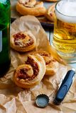 Puff rolls with cheese and salami. Royalty Free Stock Images