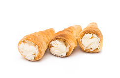 Puff rolls with cream Stock Images