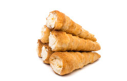 Puff rolls with cream Stock Photos