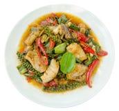 Puff savory fish kang put fresh green peppercorns on dish, Thai Stock Photo